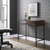 "Carbon Loft Cohn 35"" Glass Top Metal and Wood Desk"