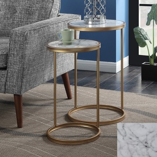 Silver Orchid Hasmik Faux Marble Nesting End Tables