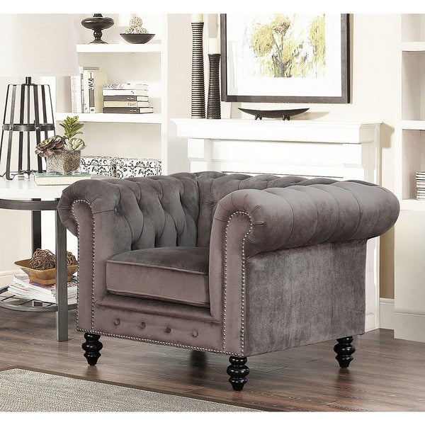 Shop Gracewood Hollow Dib Grey Velvet Armchair - On Sale ...