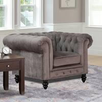 Gracewood Hollow Dib Grey Velvet Armchair