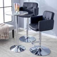 Strick & Bolton Lambert Contemporary Bar Stool in Black Faux Leather