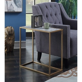 Silver Orchid Hasmik Faux Marble Chairside Table