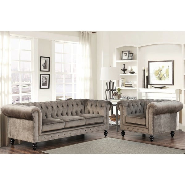 Gracewood Hollow Dib Grey Velvet 2-Piece Living Room Set