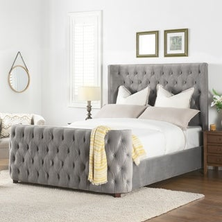 Silver Orchid Luts Linen Button-tufted Headboard Bed