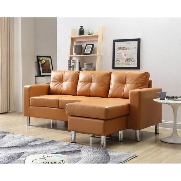 Porch Den Ropson Small E Mocha Convertible Sectional Sofa