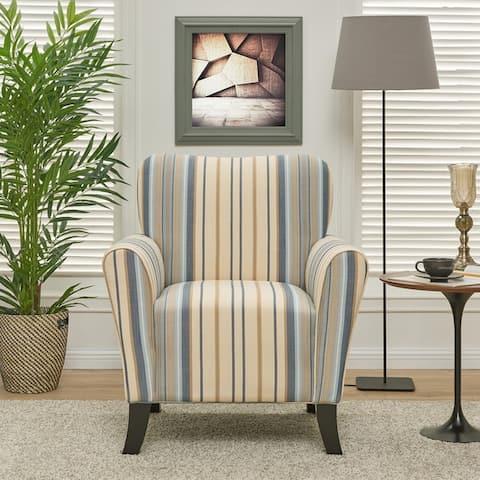 Copper Grove Lassen Blue Stripe Arm Chair