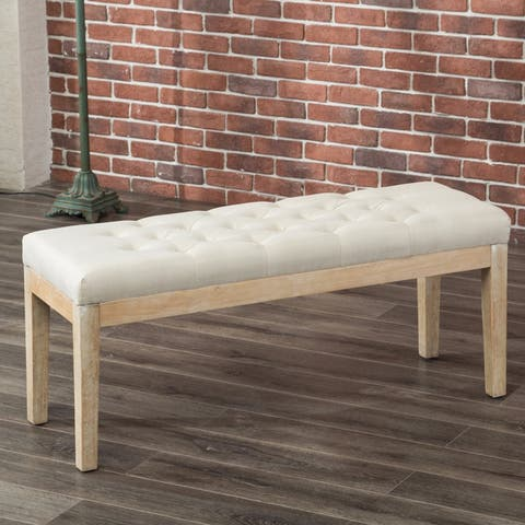 The Curated Nomad Arkin Solid Wood Button Tufted Fabric Dining Bench