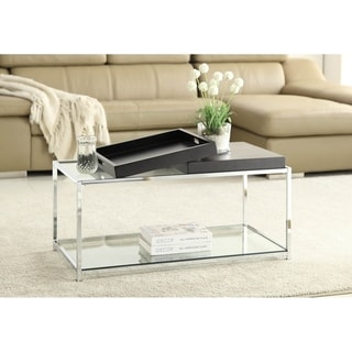 Silver Orchid Makay Chrome-finish Tempered Coffee Table with Removable Trays