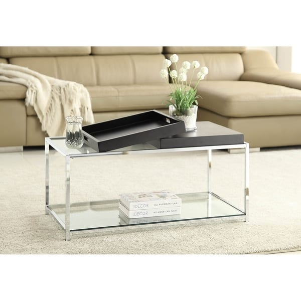 Silver Orchid Makay Chrome Finish Tempered Coffee Table