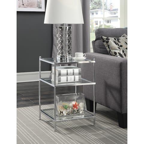 Silver Orchid Farrar Chrome Glass End Table