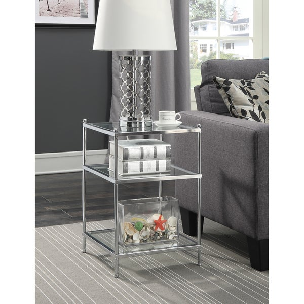 Silver Orchid Farrar Chrome Glass End Table. Opens flyout.