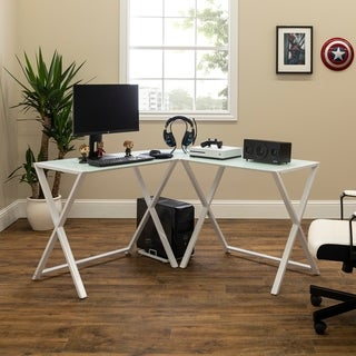 Porch & Den 51-inch Hardy X-frame Glass and Metal Computer Desk, L-shaped, Workstation for Home Office
