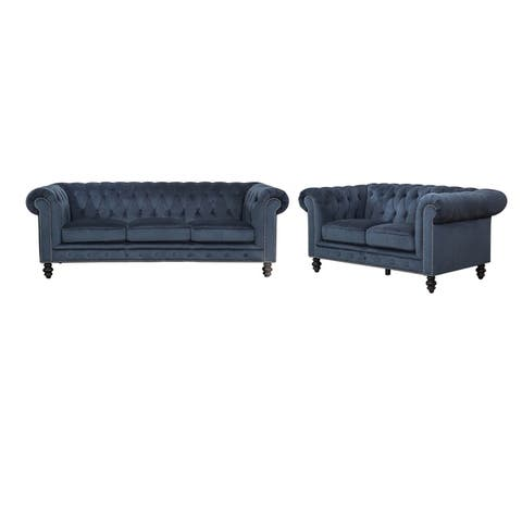 Abbyson Grand Chesterfield Grey Velvet 2 Piece Living Room Set