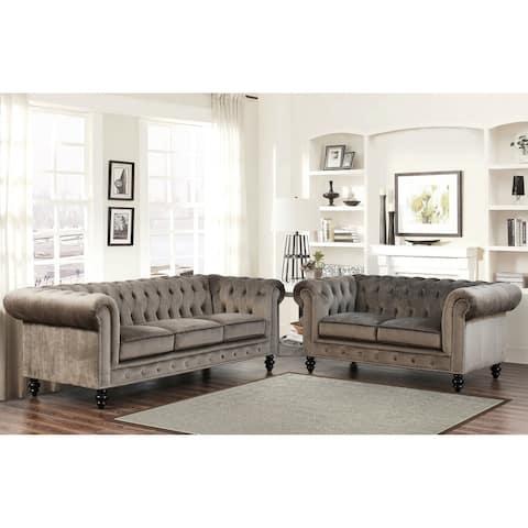 Abbyson Grand Chesterfield Velvet 2 Piece Loveseat and Sofa Living Room Set