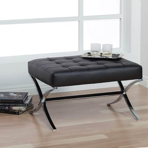 Strick & Bolton Haseltine Bonded Leather/ Steel Ottoman