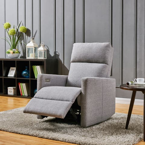 Carson Carrington Harlev Grey Power Recliner Chair with USB Port