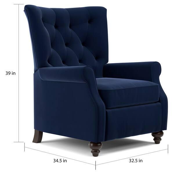 Awe Inspiring Shop Copper Grove Kamoya Navy Blue Velvet Push Back Recliner Inzonedesignstudio Interior Chair Design Inzonedesignstudiocom