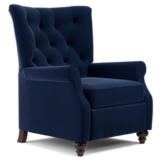 Copper Grove Kamoya Navy Blue Velvet Push Back Recliner Chair