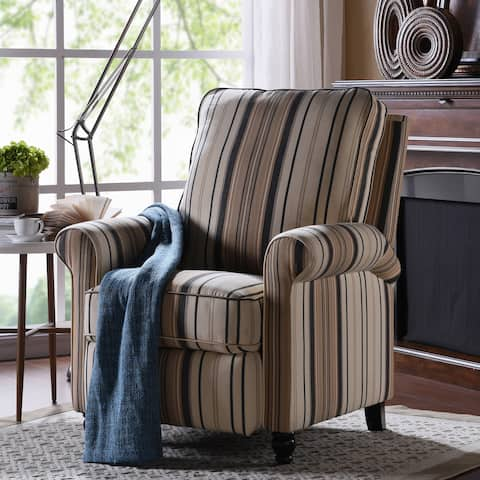 Copper Grove Lassen Brown/ Black Stripe Push Back Recliner Chair