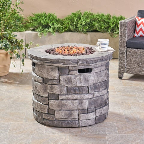 Angeles Outdoor Grey Circular Fire Pit - 40,000 BTU by Christopher Knight Home