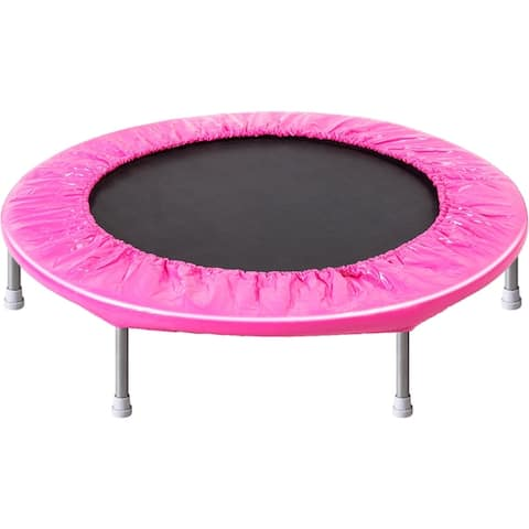Merax 38in Kids Mini Exercise Trampoline Portable Trampoline with Handrail and Padded Cover