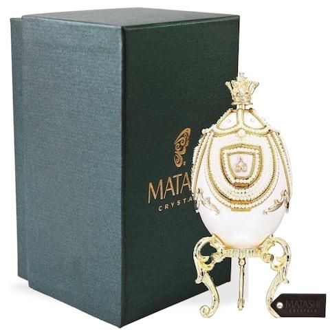 Faberge Egg Music Box Elegant Table Top Ornament w/ Matashi Crystals