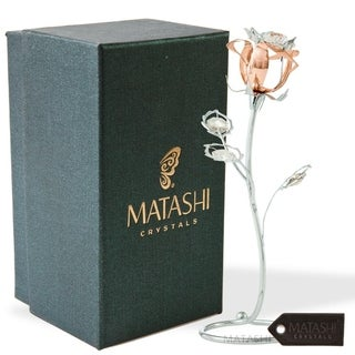 Plated Rose Flower Tabletop Ornament w/Clear Matashi Crystals