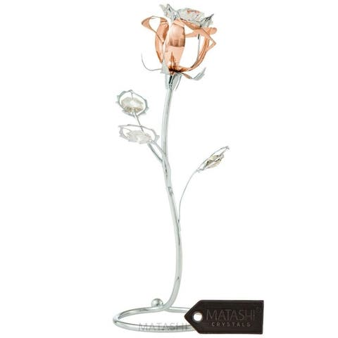 Rose Flower Tabletop Ornament w/Clear Matashi Crystals
