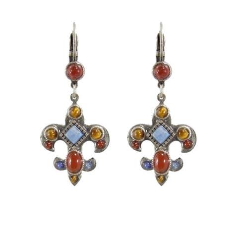 Handmade Gemstone Fleur De Lis Earrings (USA) by Michal Golan
