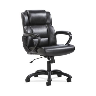 Sadie Leather Executive Computer/Office Chair with Arms - Ergonomic Swivel Chair, Black (BSXVST305)