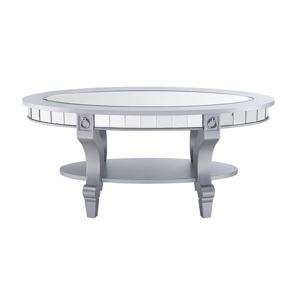 Silver Orchid Lyons Oval Mirrored Coffee Table