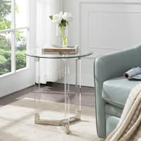 Harper Blvd Dauphine Round Acrylic Accent Table with Glass Top