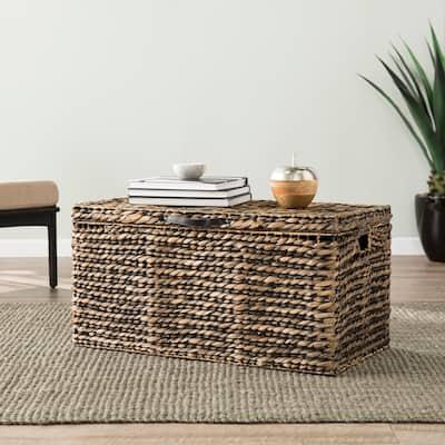 SEI Furniture Dandelion Water Hyacinth Cocktail Storage Trunk Table