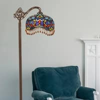 River of Goods Victorian Stained Glass 60.5-inch-tall Beaded Umbrella Side-arm Floor Lamp