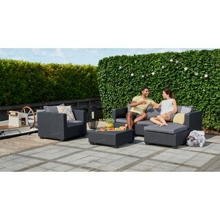 Keter Salta All-Weather Outdoor Patio Ottoman with Sunbrella Cushion