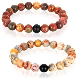 Polished Natural Stones with Matte Onyx Stone Beaded Bracelet - 8.5 inches
