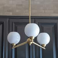 Michael 3-ligt Milk Glass Chandelier