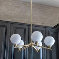 Carson Carrington Henningsvaer Brass Steel/Glass 5-light Chandelier