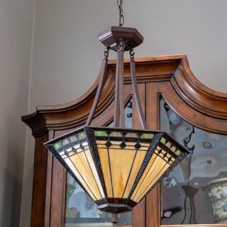 Lewis Bronze Metal/Glass Tiffany-style 3-light Pendant