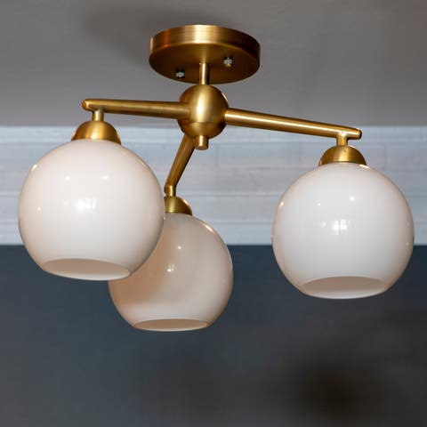 Carson Carrington Torshavn Glass 3-light Semi-Flush Mount Ceiling Lighting Fixture