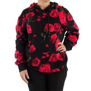 Womens Oversized Cute Cool Floral Printed Ladies Hooded Sweatshirt