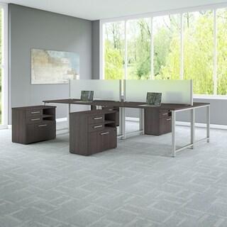 Bush 400 Series 60W x 30D 4 Person Workstation, Table Desks & Storage