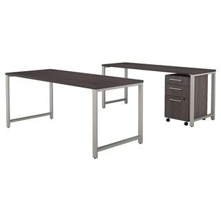 Bush 400 Series 72W x 30D Table Desk, Credenza & 3 Drawer File