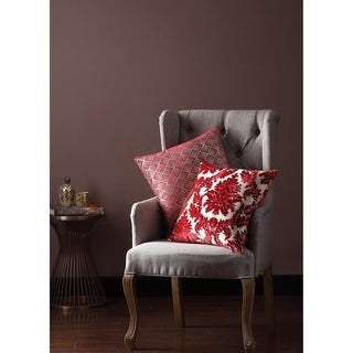 Asher Home Olivia Red Damask 18-inch Throw Pillow Cover