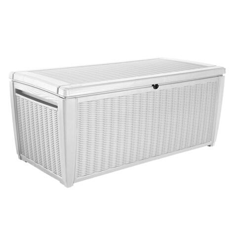 Keter Sumatra 135 Gallon Outdoor Storage Deck Box with Pool Kit, White