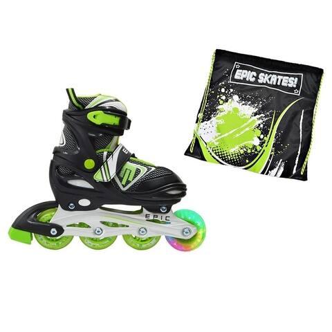 Epic Rage Boys Black Nylon Inline Indoor/ Outdoor Adjustable Inline Skate 2 Pc. Bundle