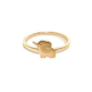 Eternally Haute 14k Gold plated Sterling Silver Lucky Elephant Ring
