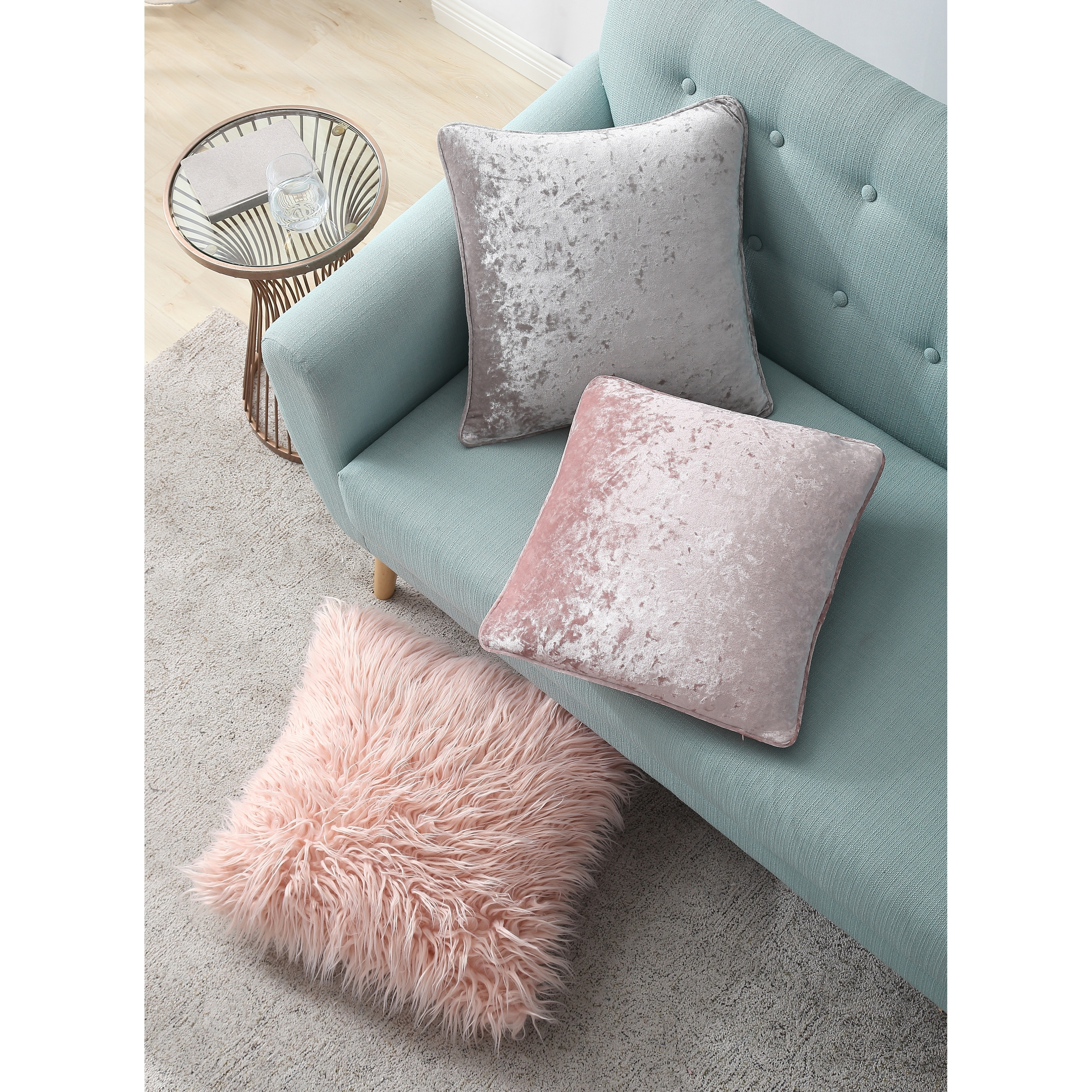 Asher Home Emma Pink Velvet 18 Inch Throw Pillow Cover