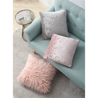 Asher Home Emma Pink Velvet 18-inch Throw Pillow Cover