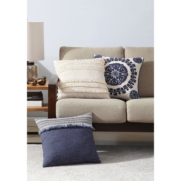 Shop Asher Home Evelyn Blue Fringed 18 Inch Throw Pillow